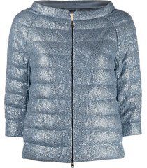 mesh and sequins down jacket