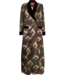 f.r.s for restless sleepers printed silk coat - green