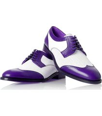 new handmade  men's in white and purple color brogue handmade leather dress shoe