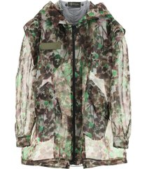 mr & mrs italy camouflage organza parka