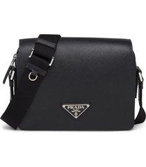 prada triangle logo shoulder bag - black