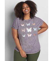 lane bryant women's butterflies graphic tee 38/40 grey heather