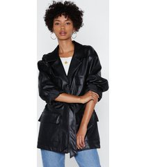 womens life on mars faux leather belted jacket - black