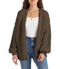 women's billabong blissed out pointelle cardigan, size small - green