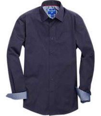 egara burgundy & navy stripe slim fit sport shirt
