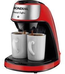 cafeteira elétrica mondial smart coffee c-42-2x-b vermelha 2 xícaras - 220v