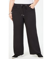 jm collection plus size wide-leg drawstring pants, created for macy's