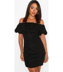 extreme ruffle off shoulder mini dress, black