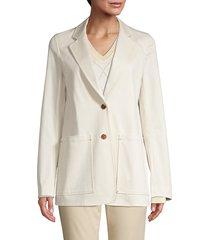 lafayette 148 new york women's annmarie stretch cotton jacket - raffia - size m