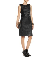 new women sexy genuine lambskin leather evening cocktail ladies party dress-22