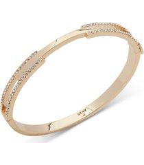 dkny gold-tone pave split bangle bracelet