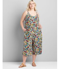 lane bryant women's printed cover-up jumpsuit 12 hazy fields