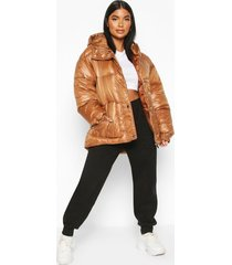 petite hooded belted puffer jacket, brown