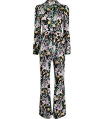 dvf diane von furstenberg floral silk long-sleeve jumpsuit - black