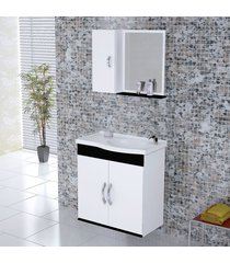 kit gabinete + espelheira para banheiro 55,5cm mdf verona suspenso branco e preto com pia - rorato - rorato