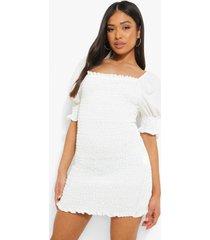 petite short sleeve shirred mini dress, ivory