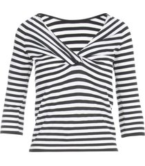 anneclaire striped sweater w/knot