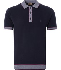 gabicci vintage 1973 dicaprio knitted polo shirt | navy | v46gm04-nvy