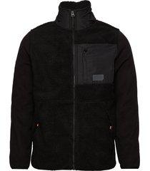 sherpa desert modern zip through sweat-shirt trui zwart superdry