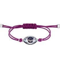 pulsera power collection evil eye, violeta, acero inoxidable 5508534