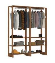 guarda roupa closet 2 peças c/ 2 cabideiros e 3 nichos yes nova mobile marrom