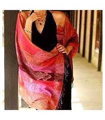 wool shawl, 'holi parade' (india)