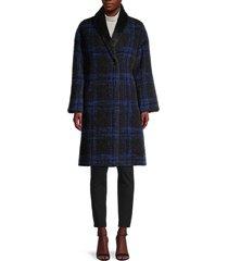 cinzia rocca icons women's plaid virgin wool & mohair-blend coat - black blue - size 8
