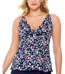 swim solutions vintage daisy printed v-neck bow tankini top, created for macy's women's swimsuit