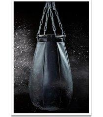 quadro oppen house 60x40cm boxe esporte treino saco de pancada moldura branca s/vidro - branco - dafiti