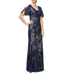 women's alex evenings sequin lace cold shoulder trumpet gown, size 12 - blue