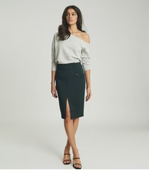 reiss kassidy - pencil skirt with zip detail in green, womens, size 14