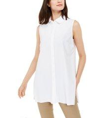 alfani petite long sleeve knit collared tunic, created for macy's