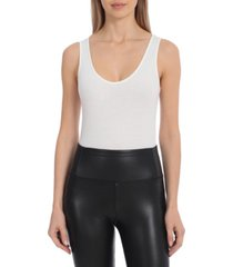 avec les filles women's rib knit scoop neck sleeveless bodysuit