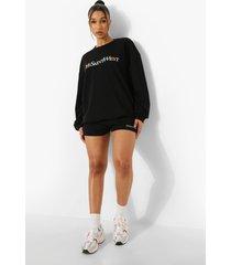 geborduurde ye saint west sweat shorts, black