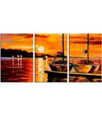 conjunto de telas decorativas barcos a vela com por do sol  mã©dio love decor - multicolorido - dafiti