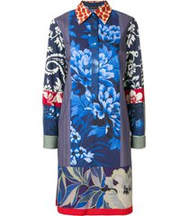 etro printed henley shirt dress - blue