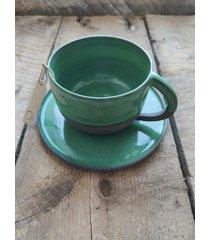 ceramiczny zestaw kubek + talerz ocean green