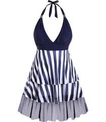 plus size halter striped mesh insert tiered tankini swimwear