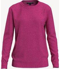 tommy hilfiger women's essential solid crewneck sweater eccentric magenta - xxl
