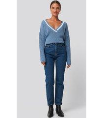 trendyol basic high waist mom jeans - blue