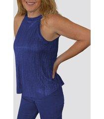 blusa cuello halter azul by brasil soo glam
