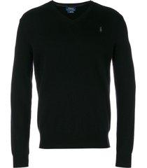 polo ralph lauren v neck sweatshirt - black