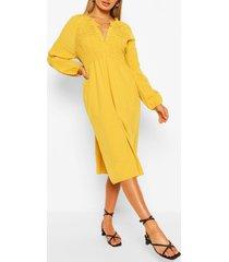 oversized gesmokte midi jurk, mosterd
