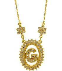 colar horus import letra g zircônia banhado ouro 18k feminino