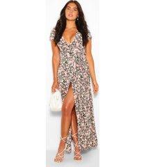 maxi bloementprint jurk met laag uitgesneden decolleté en knopen, zwart