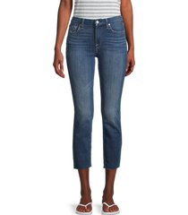 7 for all mankind women's kimmie mid-rise cropped jeans - beacon - size 26 (2-4)