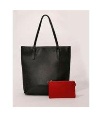 bolsa feminina grande shopper + carteira preta