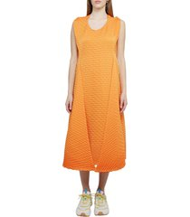 issey miyake orange temporary room pleats dress
