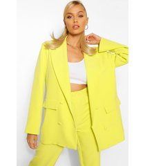boxy oversized double breasted dad blazer, chartreuse