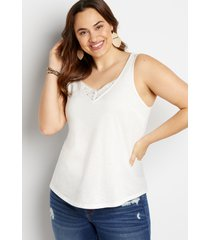 maurices plus size womens 24/7 eyelet insert button tank top white